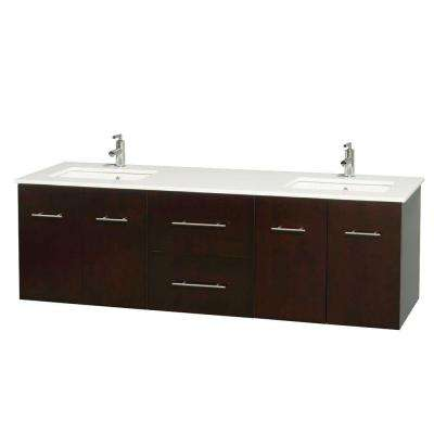 Centra 72 In. Double Vanity In Espresso With Solid Surface Vanity Top In  White