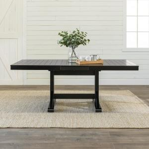 Deals on Walker Edison Millwright Black Extendable Dining Table