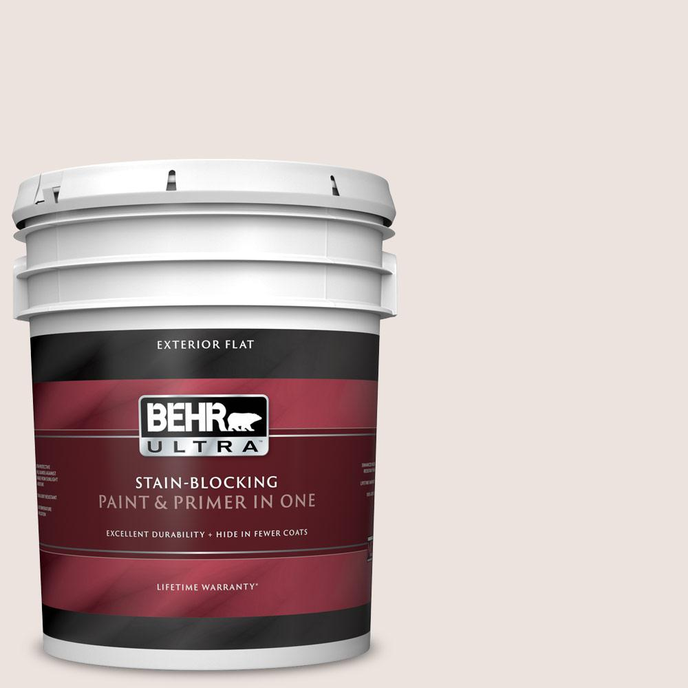 Behr Ultra 5 Gal Rd W07 Cave Pearl Flat Exterior Paint And Primer In One 485005 The Home Depot