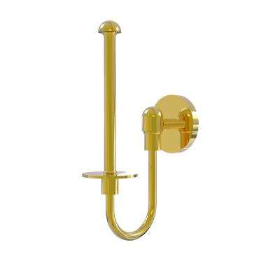 Tango Collection Upright Single Post Toilet Paper Holder in Polished Brass
