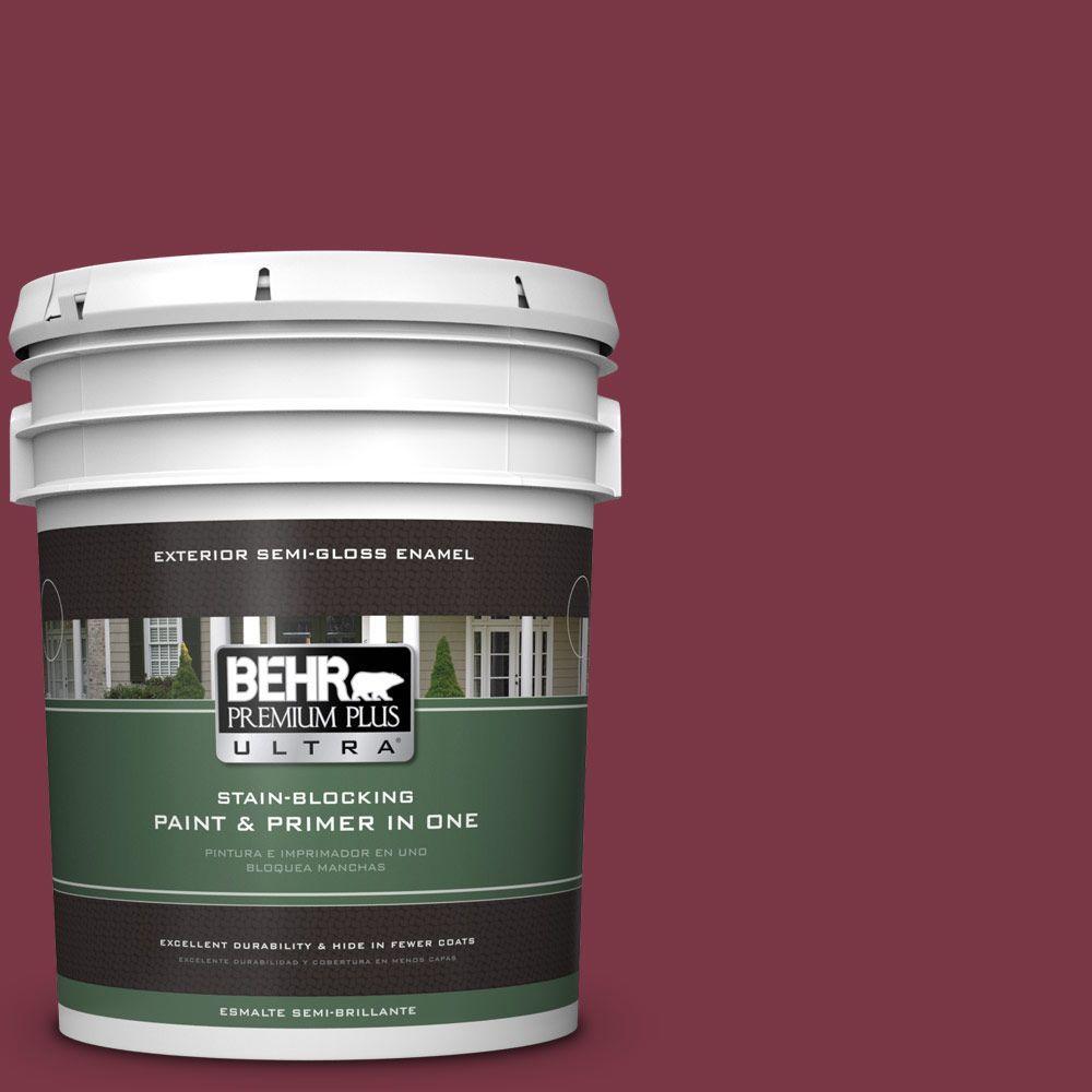 BEHR Premium Plus Ultra 5-gal. #S-H-110 Wine Tasting Semi-Gloss Enamel Exterior Paint, Reds/Pinks