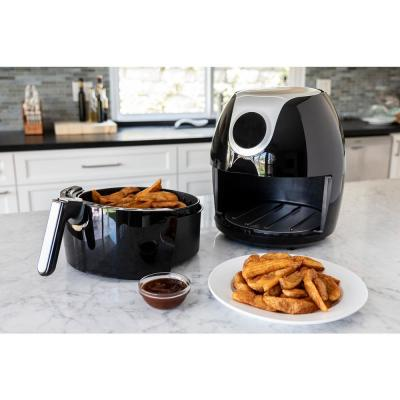 5.6 Qt. Family-Sized XL Digital Air Fryer Healthy Cooking and Dishwasher Safe Basket with Free Recipe Book - Black