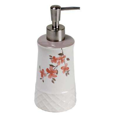 Garden Floral Freestanding Lotion Dispenser in Coral