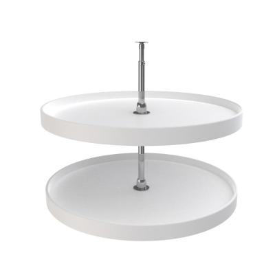 26 in. H x 32 in. W x 32 in. D White Polymer 2-Shelf Full Circle Lazy Susan Set