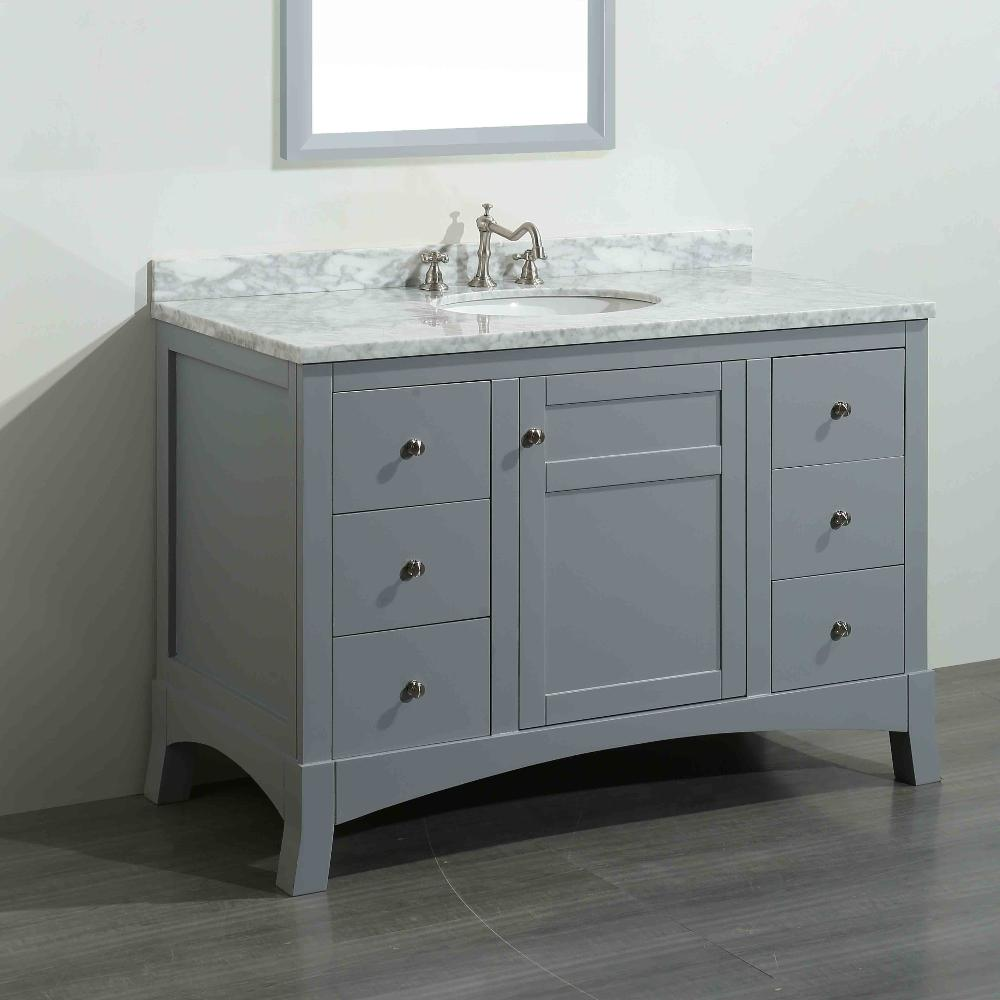Eviva New York 48 In W X 22 In D X 34 In H Vanity In Grey With Carrara Marble Vanity Top In White With White Basin