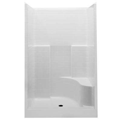 Everyday Smooth Tile 48 in. x 34-7/8 in. x 76 in. 1-Piece Shower Stall with Right Seat and Center Drain in White