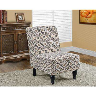Earth Tone Fabric Accent Chair