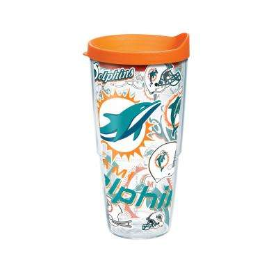 NFL Miami Dlphns All Over 24 oz. Double Walled Insulated Tumbler with Travel Lid