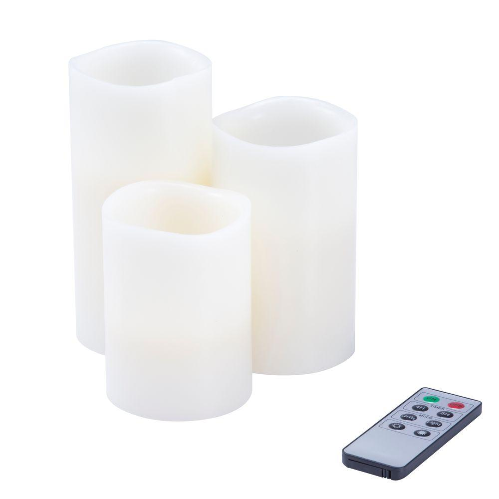 Lavish Home Lavish Home 6 in. H White LED Flameless Candle (3-Pack)