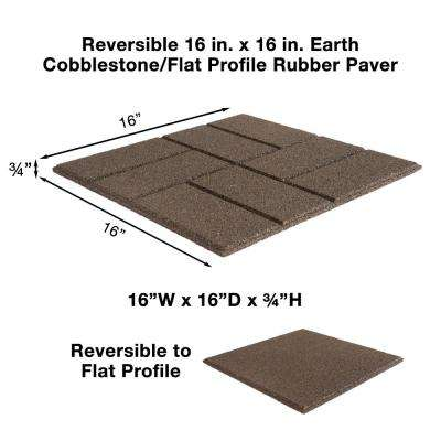 Reversible 16 in. x 16 in. x 0.75 in. Earth Brick Face/Flat Profile Rubber Paver