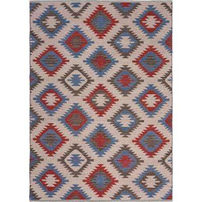 Aurora Red/Blue 5 ft. x 7 ft. Eclectic Southwest Geometric Area Rug