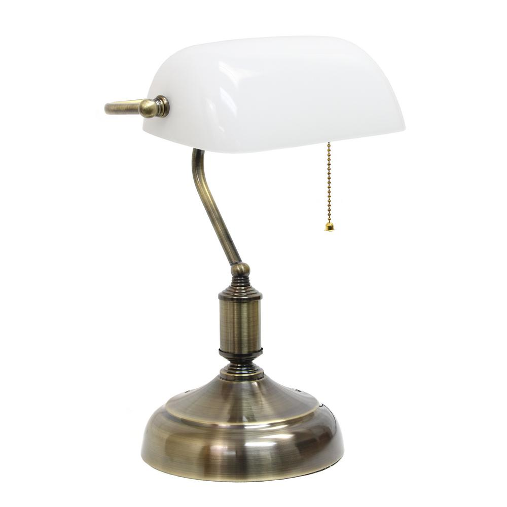 Executive Bankeru0027s Desk Lamp With White Glass Shade
