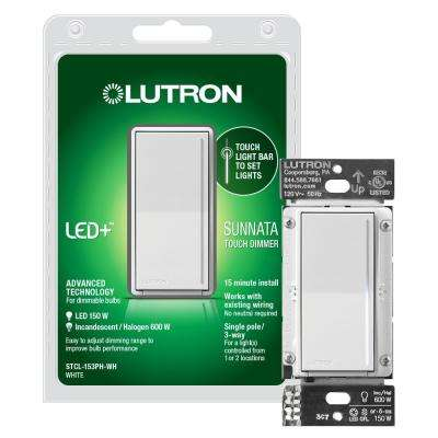 Lutron Sunnata touch dimmer with LED+ Advanced Technology for Superior Dimming of LED Incandescent/Halogen Bulbs White
