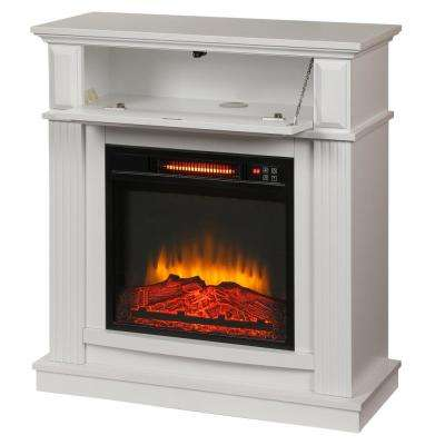 Parksley 31 in. Freestanding Compact Infrared Electric Fireplace in White
