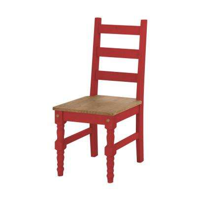 Jay 2-Piece Red Wash Solid Wood Dining Chair
