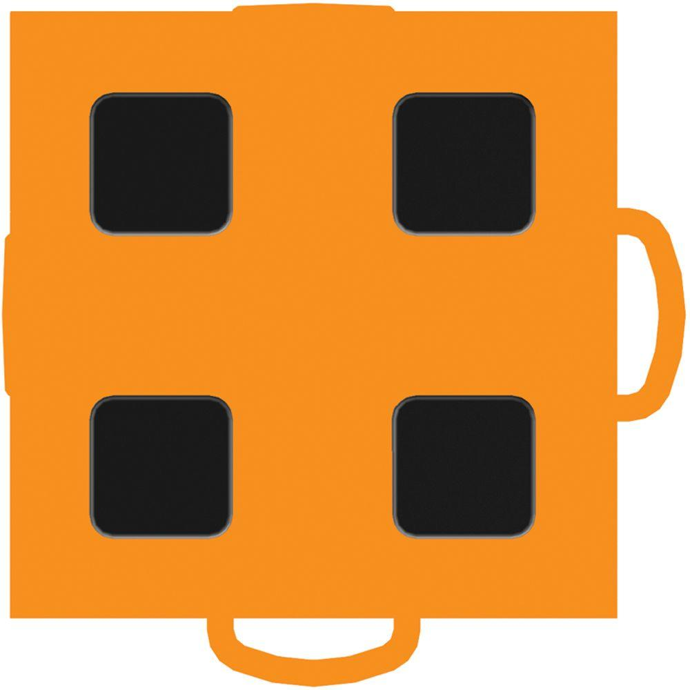 WeatherTech TechFloor 3 in. x 3 in. Orange/Black Vinyl Flooring Tiles (4-Pack)