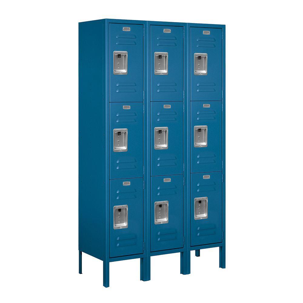 63000 Series 36 in. W x 66 in. H x 12 in. D - Triple Tier Metal Locker Unassembled in Blue