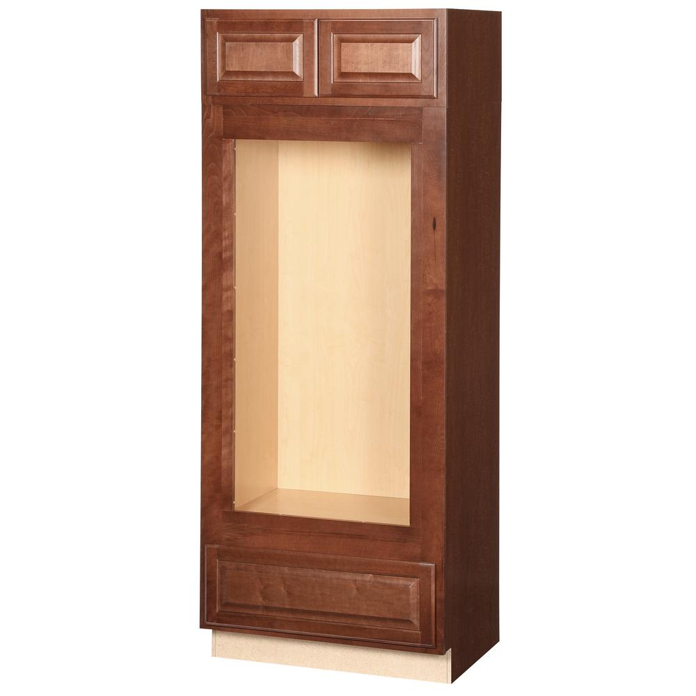 Hampton Bay Embled 33x84x24 In Double Oven Kitchen Cabinet Cognac