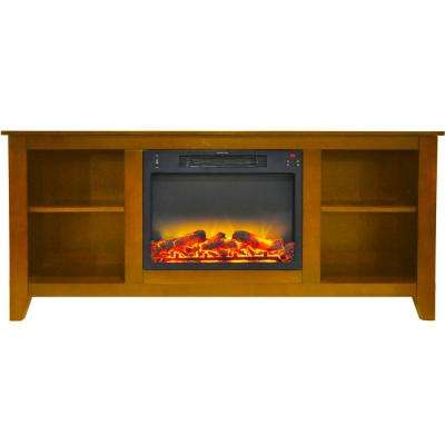 Santa Monica 63 in. Electric Fireplace and Entertainment Stand in Teak with Enhanced Log Display