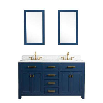 Madison 60 in. W Bath Vanity in Monarch Blue with Marble Vanity Top in Carrara White with White Basin(s) and Mirror