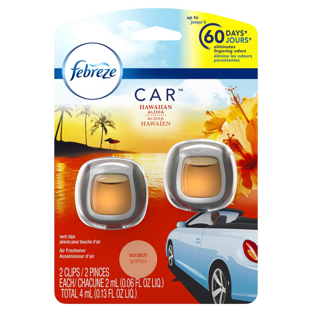 Febreze 0 06 oz  Hawaiian Aloha Car Vent Clip Air Freshener (2-Pack)