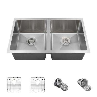 All-in-One Undermount Stainless Steel 31 in. Double Bowl Kitchen Sink