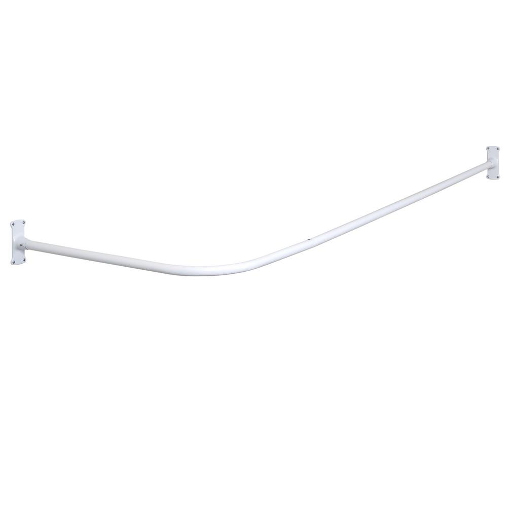 Commercial No Rust 66 in. Aluminum L Shaped Shower Rod with