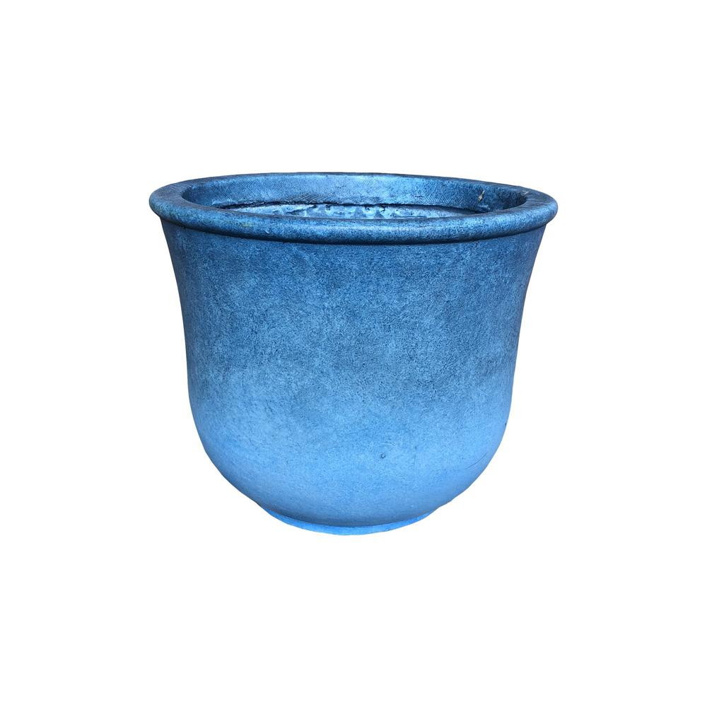 KANTE Large 15.7 in. Tall Blue Lightweight Concrete Modern Vibrant Ombre Round Planter