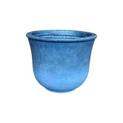 Large 15.7 in. Tall Blue Lightweight Concrete Modern Vibrant Ombre Round Planter