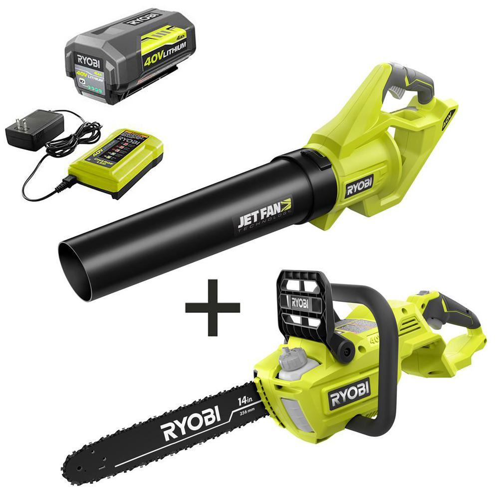 RYOBI 14 in. 40-Volt Brushless Lithium-Ion Cordless Chainsaw and Jet Fan Leaf Blower, 4 Ah Battery and Charger Included