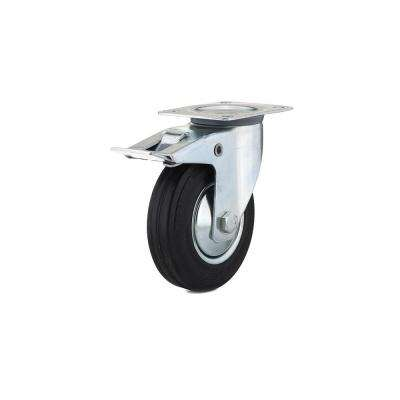 4-29/32 in. black Swivel with Double-Lock Brake plate Caster, 220.5 lb. Load Rating