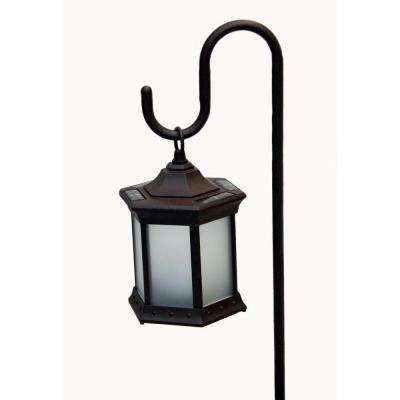 Six Sided-Frosted Glass Solar Lantern with Shepherds Hook