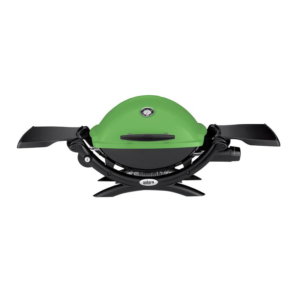 weber q 1200 1 burner portable tabletop propane gas grill in green with built in thermometer. Black Bedroom Furniture Sets. Home Design Ideas