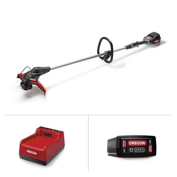 40-Volt Lithium-Ion Cordless Straight Shaft String Trimmer with 6.0 Ah Battery and Rapid Charger
