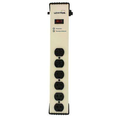 20 Amp Heavy Duty Surge Protected 6-Outlet Power Strip, On/Off Switch, 6 Foot Cord, Beige