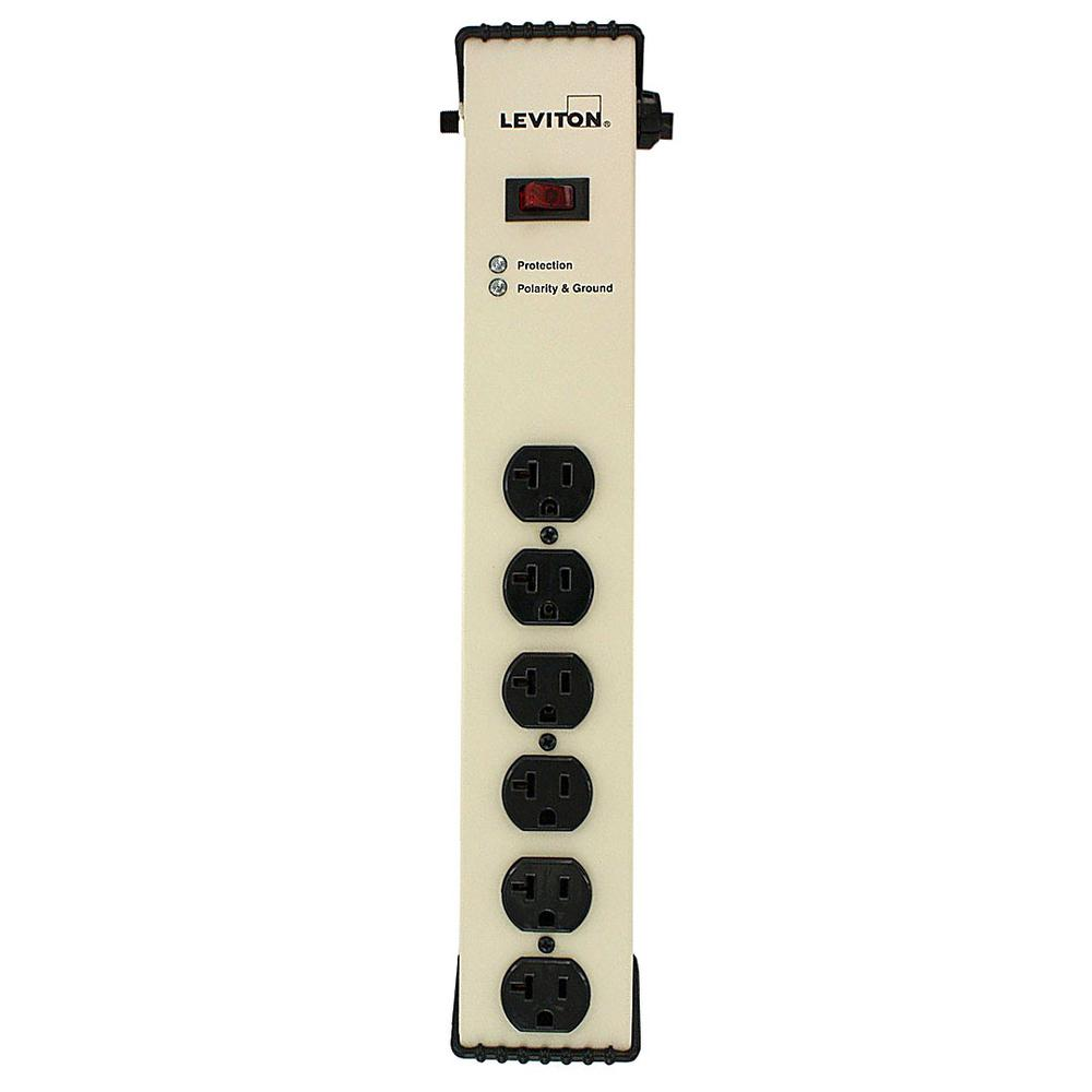 20 Amp Heavy Duty Surge Protected 6-Outlet Power Strip, On/Off Switch,