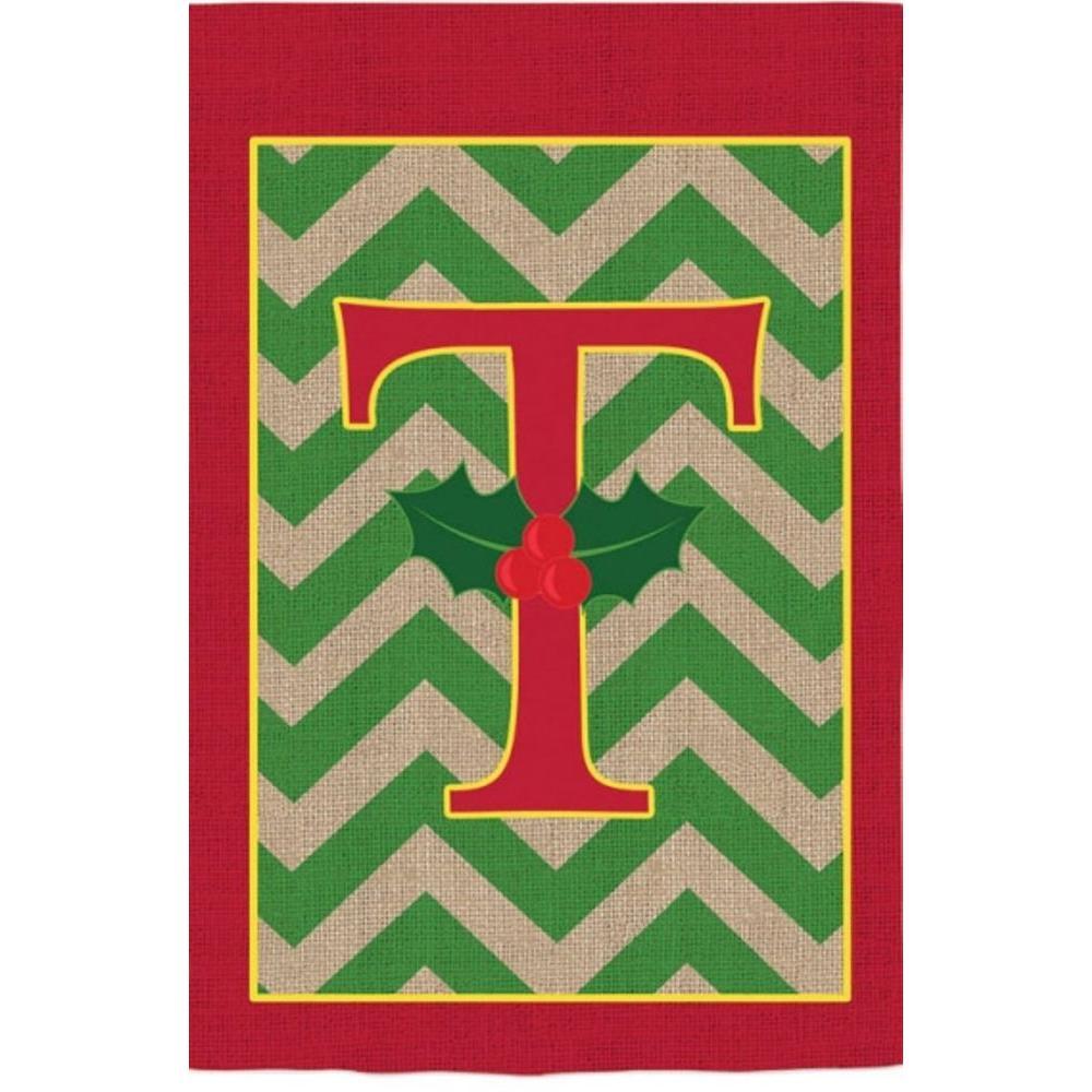 1 ft. x 1.5 ft. Monogrammed T Holly Burlap Garden Flag