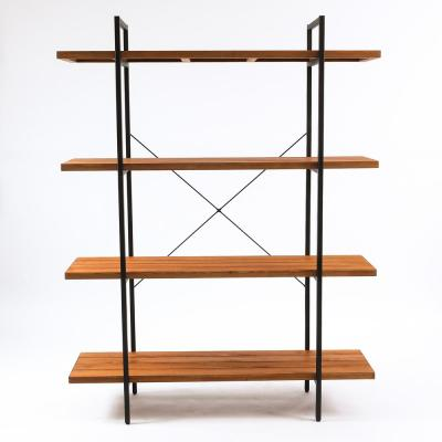 66.5 in. Brown/Black Metal 4-shelf Etagere Bookcase with Open Back