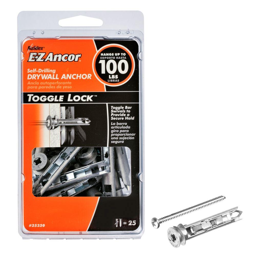 Triple grip 10 1 12 in anchors with screws 10 pack 172r the toggle lock 100 pan head self drilling heavy duty drywall anchors with screws dailygadgetfo Choice Image