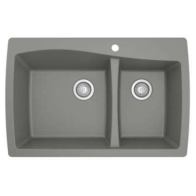 Drop-In Quartz Composite 34 in. 1-Hole 60/40 Double Bowl Kitchen Sink in Grey