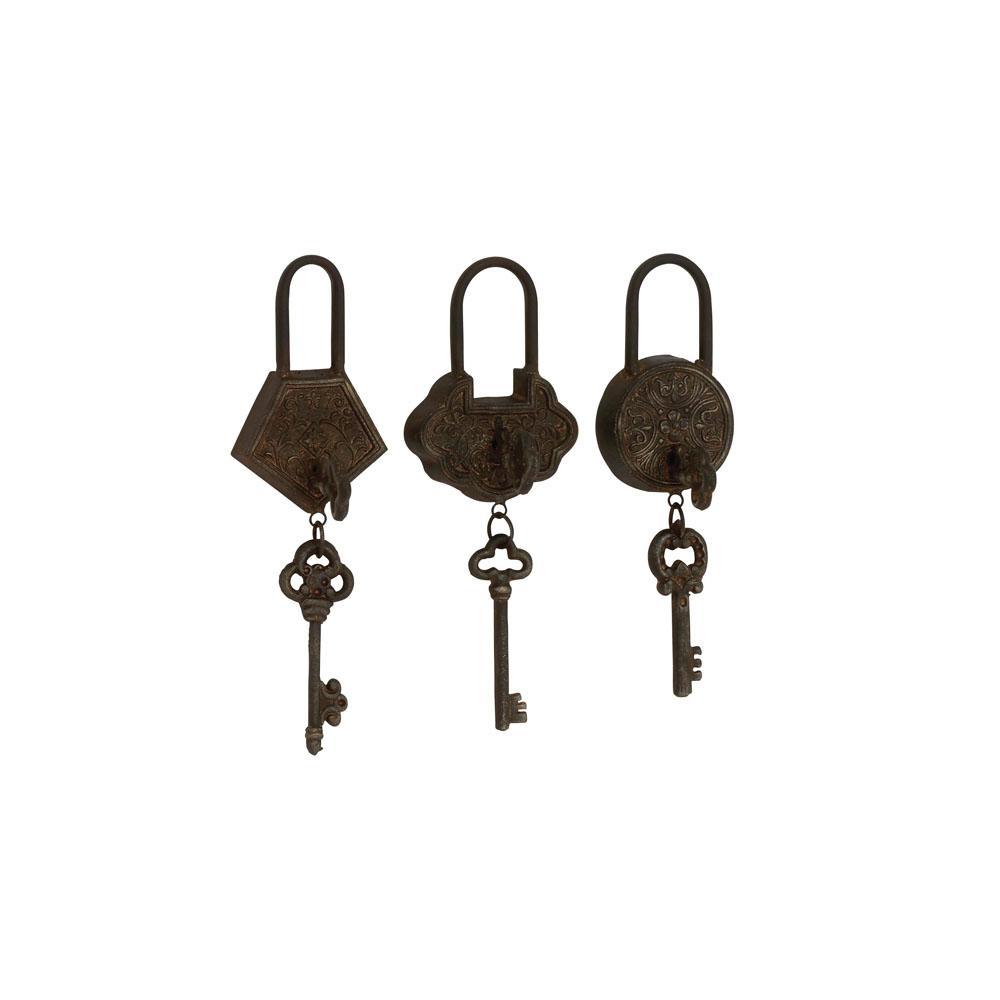 Vintage Metal Locks and Keys (Set of 3)