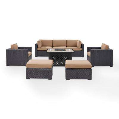 Biscayne 7-Person Wicker Outdoor Seating Set with Mocha Cushions