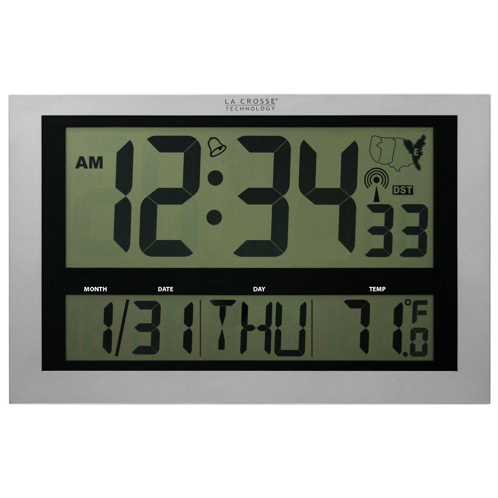 La Crosse Technology Jumbo Digital Atomic Wall Clock With Temperature 513 1211 The Home Depot