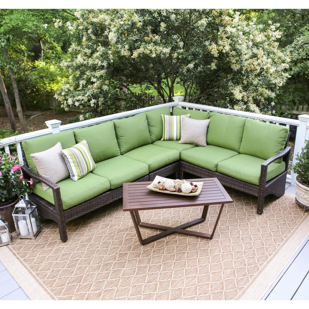 Leisure Made Augusta 5 Piece Wicker Outdoor Sectional Set With Green Cushions 437409 Grn The Home Depot