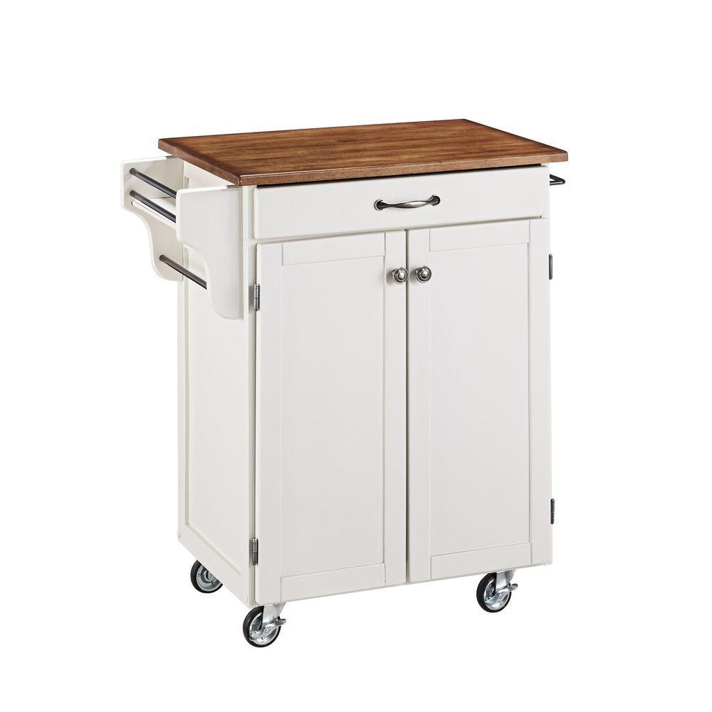 Cuisine Cart White Kitchen Cart with Oak Wood Top