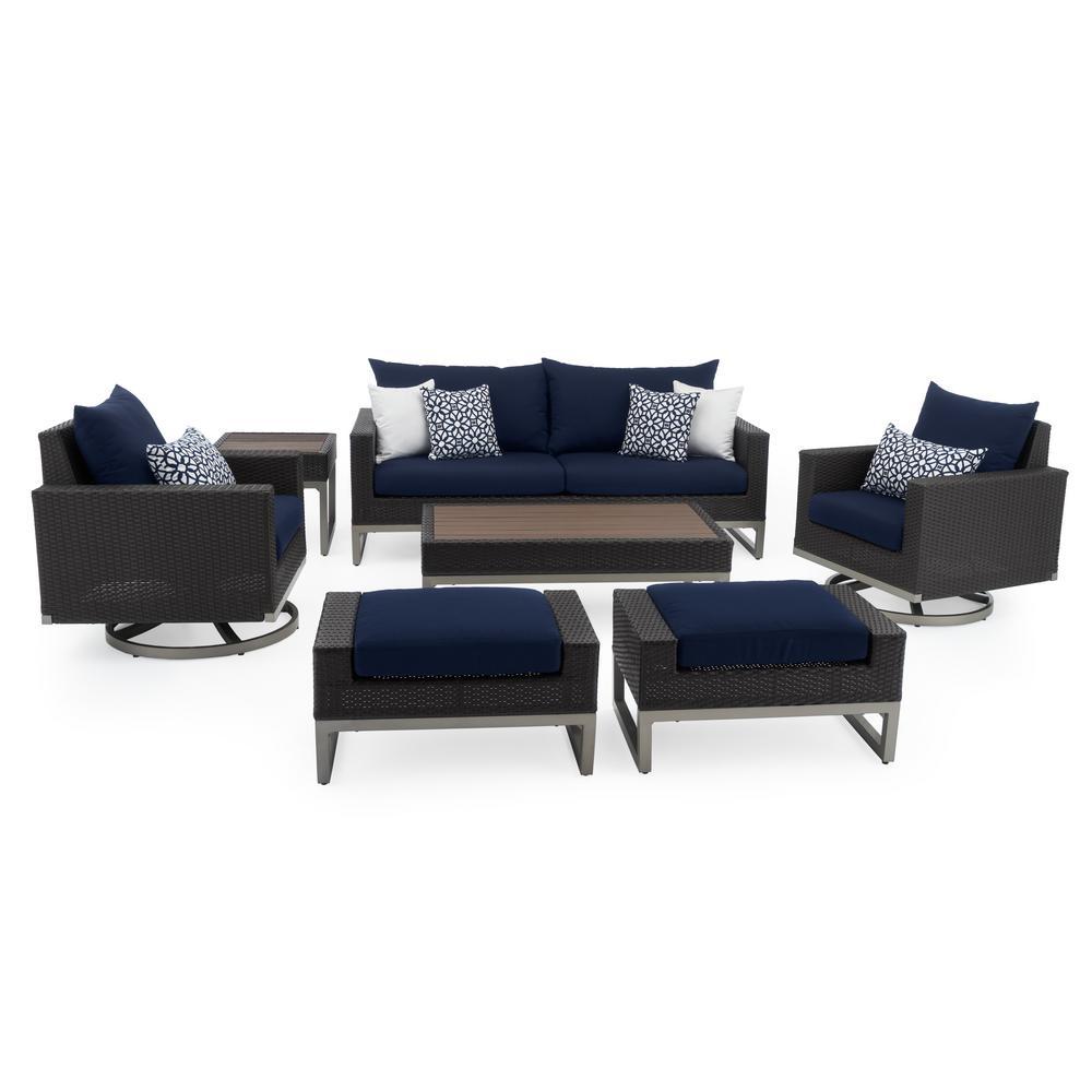 Milo Espresso 7-Piece Wicker Motion Patio Deep Seating Conversation Set with Sunbrella Navy Blue Cushions