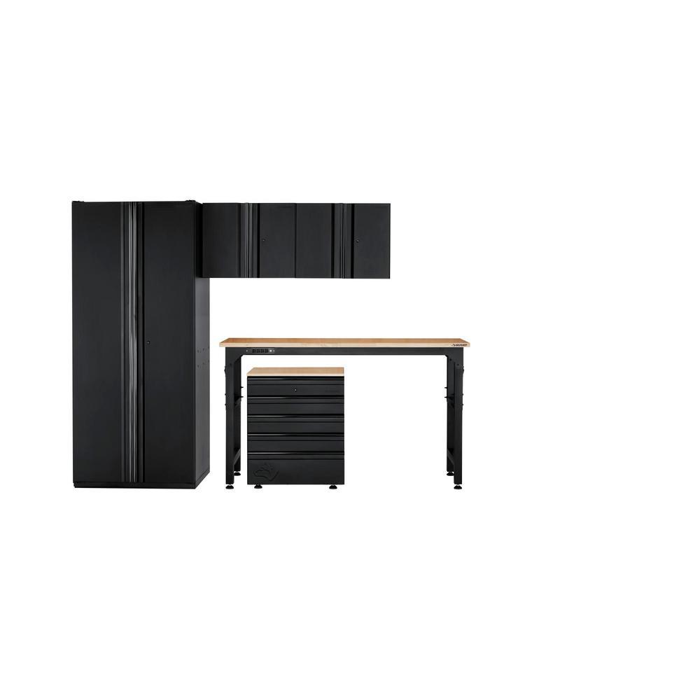 Husky Heavy Duty Welded 108 in. W x 81 in. H x 24 in. D Steel Garage Cabinet Set in Black (5-Piece)