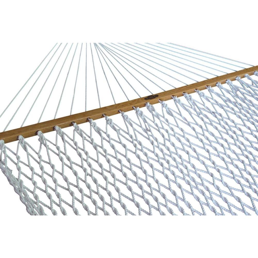 Pawleys Island 13 ft. Large Polyester Patio Rope Hammock in White