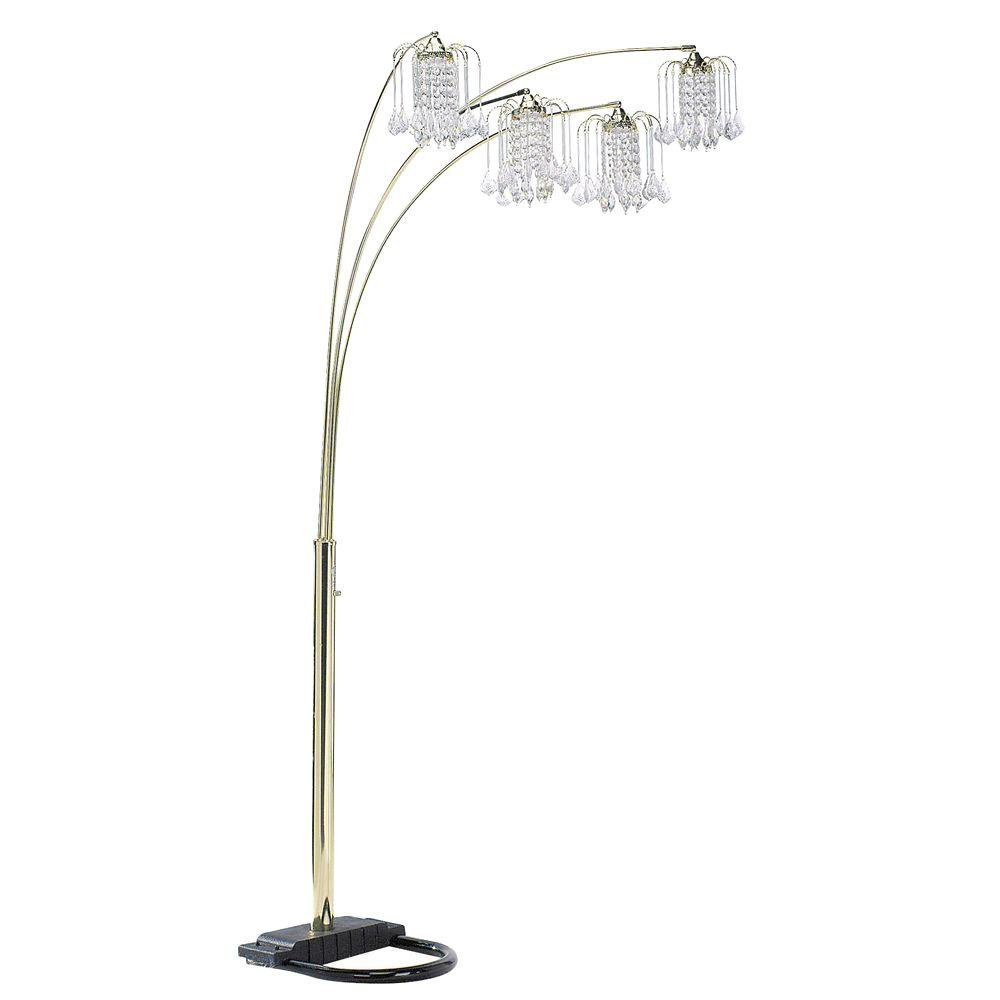 Ore International 84 In Polished Brass Floor Lamp With Crystal Like