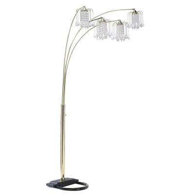 84 in. Polished Brass Floor Lamp with Crystal Like Shade